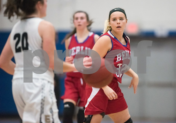 02/20/18 Wesley Bunnell | Staff Berlin girls basketball was defeated 80-50 by Enfield at Glastonbury High School on Tuesday night during the CCC tournament. Alana Garofalo (32).