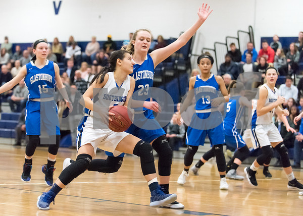 02/26/18 Wesley Bunnell | Staff Southington girls basketball fell 61-54 to visiting Glastonbury in the first round of the LL state tournament. Brianna Harris (3).