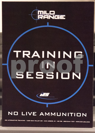 02/27/18 Wesley Bunnell | Staff A sign indicating no live ammunition to be used in the New Britain Police Department's indoor MILO Range which helps train officers in using firearms in various simulated scenarios.