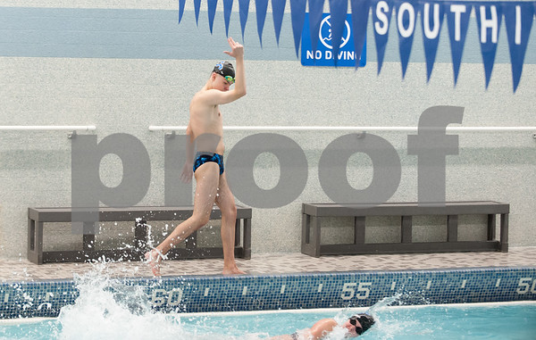 02/21/18 Wesley Bunnell | Staff Southington boys swimming defeated North West Catholic Wednesday afternoon at the Southington YMCA 90-71. Quintin Kimmel cheers on his fellow swimmers.