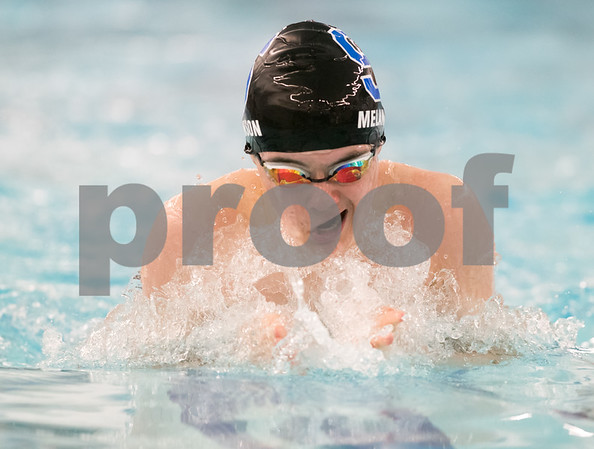 02/21/18 Wesley Bunnell | Staff Southington boys swimming defeated North West Catholic Wednesday afternoon at the Southington YMCA 90-71. Derek Melanson finished the 100m breast stroke with a time of 1:10.22.