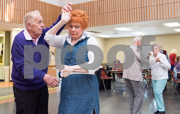 02/21/18 Wesley Bunnell | Staff Bob Snediker and Elsie Scempinski dance to a live band at the New Britain Senior Center on Wednesday afternoon.