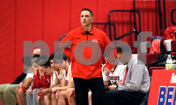 2/3/2018 Mike Orazzi | Staff Berlin High School's Mike Veneziano during Saturday's boys game with Farmington in Berlin.