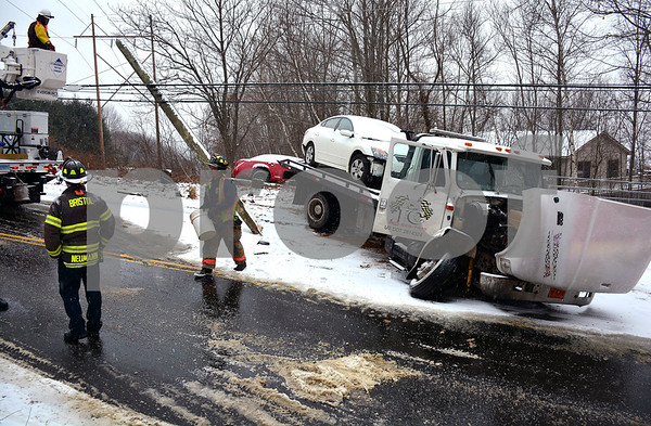 2/7/2018 Mike Orazzi   Staff The scene of a multi vehicle crash in the 500 block of Willis Street during Wednesday's storm in Bristol.