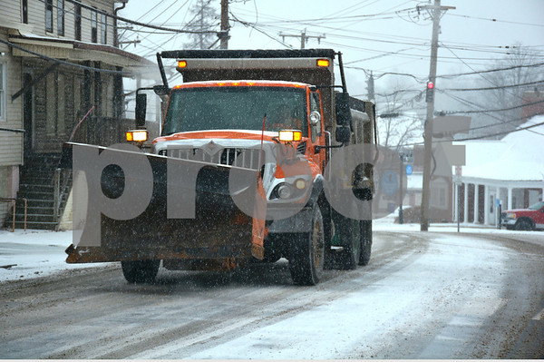 2/7/2018 Mike Orazzi   Staff A Town of Plymouth plow out during Wednesday's storm on Route 6.