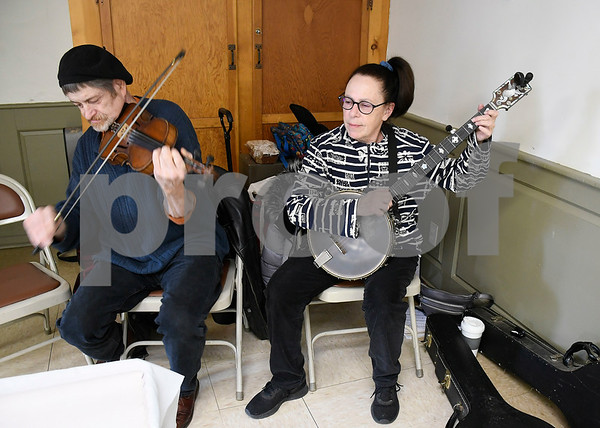 3/3/2018 Mike Orazzi | Staff Dan Gardella and Frank Block provide some music during the annual Maple Festival held on the Plymouth Green Saturday.