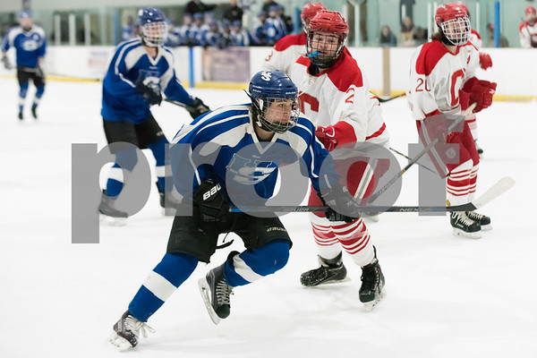 03/06/18 Wesley Bunnell | Staff Hall-Southington hockey vs Conard in the first round of the state tournament at Veterans Ice Rink in West Hartford on Tuesday afternoon. Miles Aranow (12).