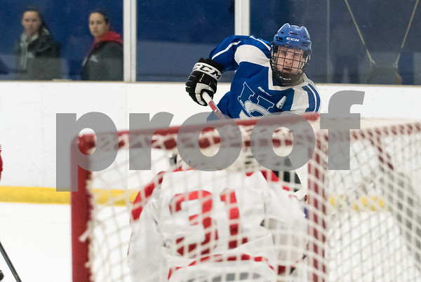 03/06/18 Wesley Bunnell | Staff Hall-Southington hockey vs Conard in the first round of the state tournament at Veterans Ice Rink in West Hartford on Tuesday afternoon. Captain Jacob Albert (22).