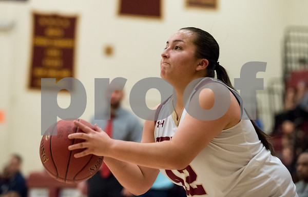 01/08/18 Wesley Bunnell | Staff New Britain basketball was defeated by Newington on Monday evening at New Britain High School. Gabby Roy (42) with a 3 pointer.