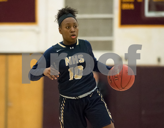 01/08/18 Wesley Bunnell | Staff New Britain basketball was defeated by Newington on Monday evening at New Britain High School. Ashanti Frazier (10).