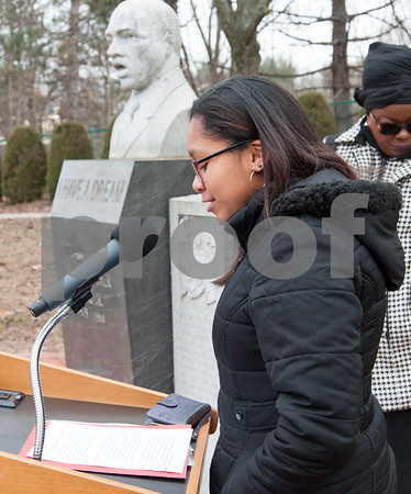 01/15/18 Wesley Bunnell | Staff The City of New Britain commemorated the life of Martin Luther King Jr. with a ceremony Monday morning at Trinity-on-Main followed by a wreath laying service at the Dr. Martin Luther King Jr. Park at noon. The events were sponsored by Mayor Erin E. Stewart and the New Britain Commission on Human Rights and Opportunities. Slade School Student Ambassador and National Junior Honor Society member Taliah Green gives her remarks before the wreath laying observance at the Dr. King monument.
