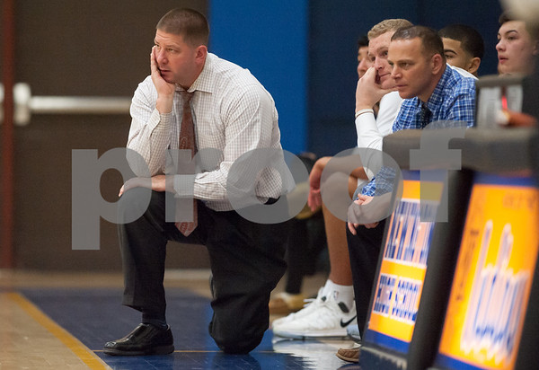 01/16/18 Wesley Bunnell | Staff Newington High boys basketball was defeated at home by Soutington on Tuesday evening 52-44. Head coach Eddie Quick.