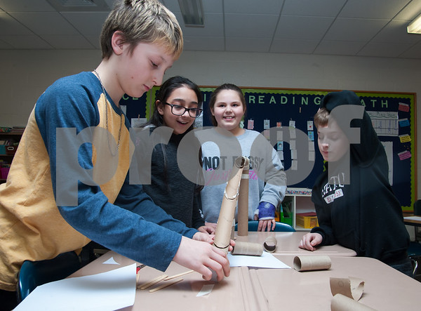 01/29/18 Wesley Bunnell   Staff Mountain View's STEM Lab was visited by a Bristol Eastern science teacher and students on Monday afternoon to work on a science experiment with students from the fifth grade class regarding potential vs kinetic energy. Jaxson Koczur, L, fits pieces together as JeseBelle Arroyo, stands next to Courtney Haire and Aidan Raboin.