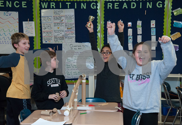 01/29/18 Wesley Bunnell   Staff Mountain View's STEM Lab was visited by a Bristol Eastern science teacher and students on Monday afternoon to work on a science experiment with students from the fifth grade class regarding potential vs kinetic energy. Jaxson Koczur, L, and partners Aidan Raboin, JeseBelle Arroyo and Courtney Haire celebrate as their project was chosen as the winner.