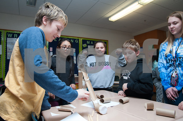 01/29/18 Wesley Bunnell   Staff Mountain View's STEM Lab was visited by a Bristol Eastern science teacher and students on Monday afternoon to work on a science experiment with students from the fifth grade class regarding potential vs kinetic energy. Jaxson Koczur, L, fits pieces together as JeseBelle Arroyo, stands next to Courtney Haire, Aidan Raboin and BE junior Laney Kosakowski.