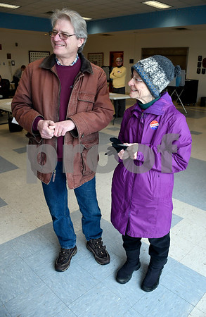 1/30/2018 Mike Orazzi | Staff Plainville residents Frank and Irene Avella after voting on upgrades to the towns water pollution control facility Tuesday afternoon.