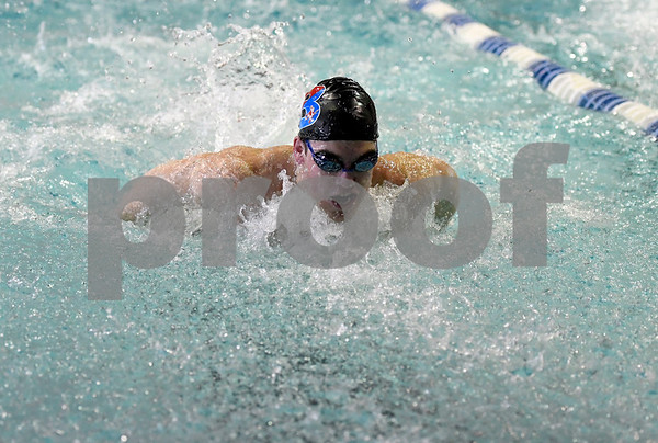 1/30/2018 Mike Orazzi | Staff Berlin's Connor Recck during Tuesday's swim meet in Bristol.