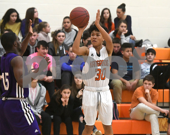 1/10/2018 Mike Orazzi | Staff Terryville High School's Devonne Dao (30) during Wednesday night's boys basketball game with Achievement First At Terryville High School.
