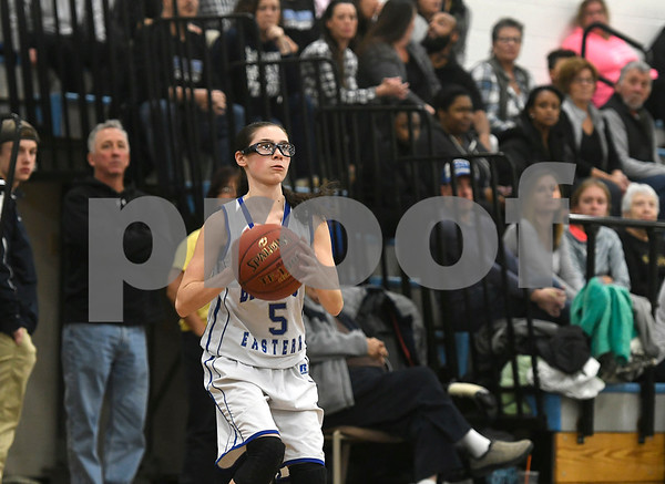 1/11/2018 Mike Orazzi | Staff Bristol Eastern's Miranda Janick (5) during Thursday night's girls basketball game at BE.