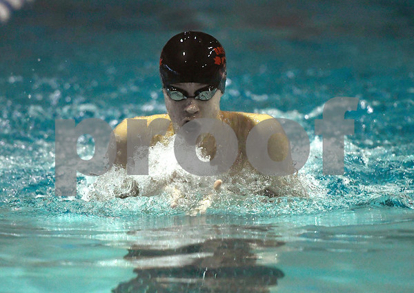 1/12/2018 Mike Orazzi | Staff Bristol swimming's Colton Litwinczyk during Friday's swim meet with Southington.