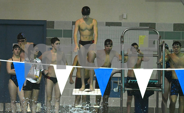 1/12/2018 Mike Orazzi | Staff Bristol swimming's Ben Stafford during Friday's swim meet with Southington.