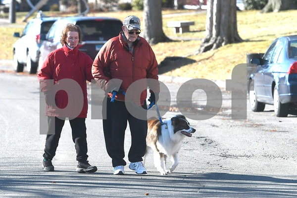 1/13/2018 Mike Orazzi | Staff Terry and Norm Dubuc and their Border Collie mix Brandy,3, while walking in Walnut Hill Park in New Britain Saturday morning.