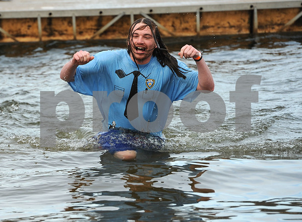 1/20/2018 Mike Orazzi | Staff Plunger Rick Hammel during the 13th Annual Sloper Plunge at Camp Sloper in Southington Saturday.