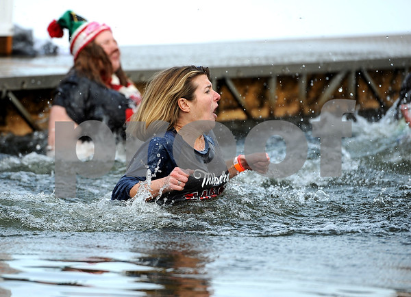 1/20/2018 Mike Orazzi | Staff Megan Bennett during the 13th Annual Sloper Plunge at Camp Sloper in Southington Saturday.
