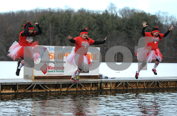 1/20/2018 Mike Orazzi | Staff Jen Humphrey, Chauna Wilson and Sabina Vance during the 13th Annual Sloper Plunge at Camp Sloper in Southington Saturday.