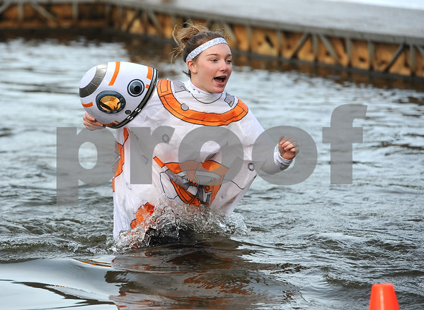 1/20/2018 Mike Orazzi | Staff Ciara Devaney during the 13th Annual Sloper Plunge at Camp Sloper in Southington Saturday.