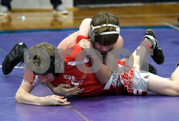 1/27/2018 MIke Orazzi   Staff Berlin's Tyler Barber and Keene's Tucker Brown during the MASS-CONNfusion wrestling tournament at Southington High School Saturday.