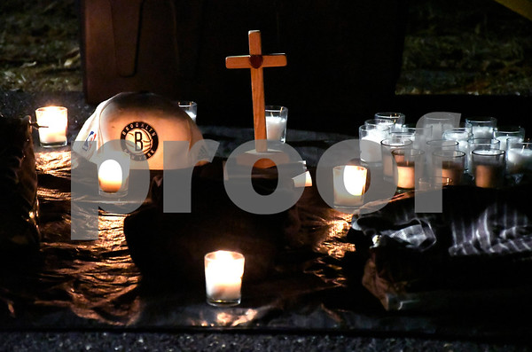 1/27/2018 Mike Orazzi   Staff A tribute set up at Bristol Eastern High School Saturday night for Kerion Rogers during a memorial for the Bristol Eastern graduate who was killed in a car crash last weekend.