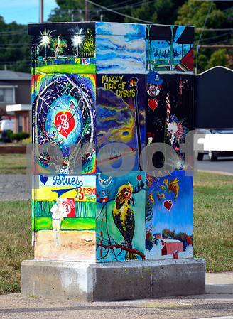 9/21/2016 Mike Orazzi | Staff A painted traffic box on Church Street in Bristol. The board of police commissioners voted 4-3 to keep the boxes gray.