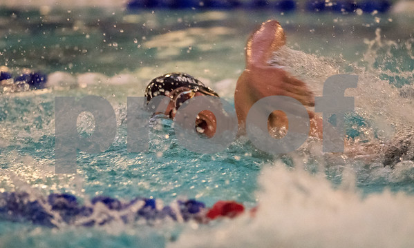 01/19/18 Wesley Bunnell | Staff Plainville swimming was defeated by Southington 97-80 on Friday evening at Plainville High School. Plainville's Joe Michalic in the 400 free.