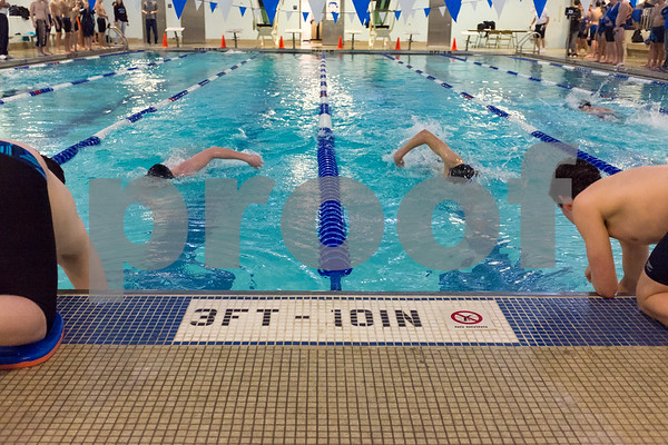 01/19/18 Wesley Bunnell | Staff Plainville swimming was defeated by Southington 97-80 on Friday evening at Plainville High School. Swimmers for Plainville, left, and Southington are just about even during the 400 free.