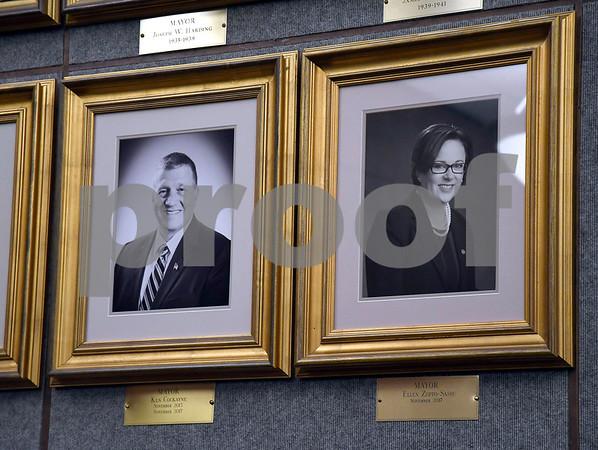 1/9/2018 Mike Orazzi   Staff Bristol Mayor Ellen Zoppo-Sassu's official portrait was unveiled Tuesday night at city hall.
