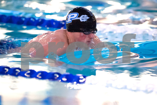 01/09/18 Wesley Bunnell | Staff Plainville boys swimming defeated East Catholic 89-86 on Tuesday evening at Plainville High School. Graham Eyres in the 100 breast stroke.