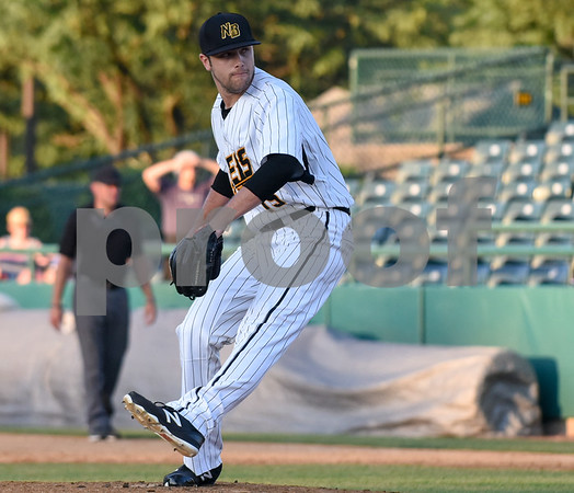 070517 Wesley Bunnell | Staff New Britain Bees vs Somerset Patriots on Wednesday evening. Brandon Shimo (15).