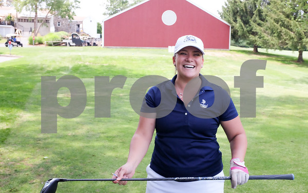 071017 Wesley Bunnell | Staff The 18th Annual Greater New Britain Chamber of Commerce Golf Tournament took place on Monday at Stanley Golf Course. Mayor Erin Stewart is all smiles after a good drive from the 10th tee.