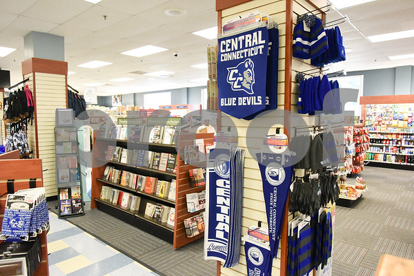 071317 Wesley Bunnell | Staff Books and merchandise for sale at the CCSU bookstore.