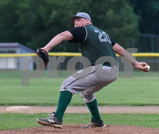 071717 Wesley Bunnell | Staff The Bristol Greeners at the Southington 66ers in a Tri-State Baseball League contest played on Monday evening. Bristol pitcher Roberge (20).