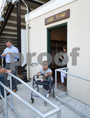 071817 Wesley Bunnell | Staff City officials gave a tour of Veterans' Stadium in New Britain which recently underwent renovations per ADA guidelines. Antonio Orriola exits the home team locker room.