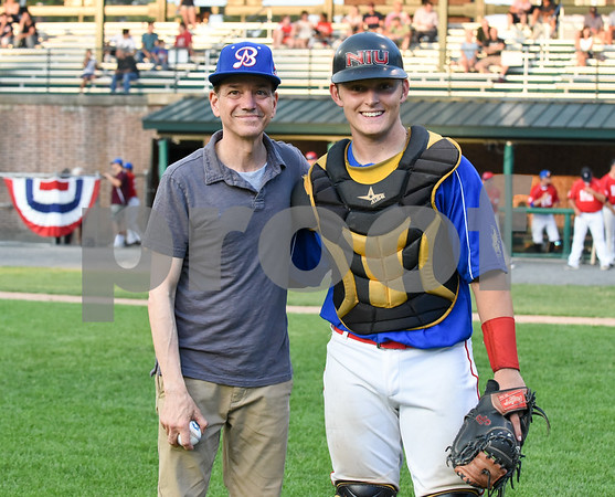 071817 Wesley Bunnell | Staff The FCBL held their All Star Game on Tuesday evening at Muzzy Field which was preceded by a fan fest and workout by players for area scouts. Actor Frank Whaley who played a young Moonlight Graham in the movie Field of Dreams poses for a photo with catcher Andrew Bene after throwing out the first pitch.