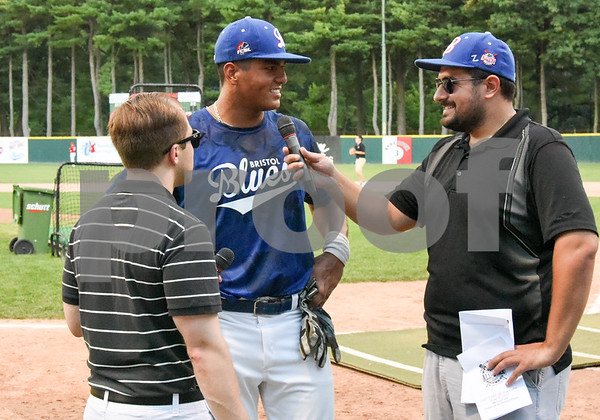 071817 Wesley Bunnell | Staff Jayson Gonzalez (40), of the Bristol Blues is interviewed after winning the home run derby at the FCBL All Star Game at Muzzy Field on Tuesday night.