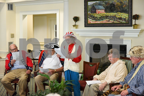 070517 Wesley Bunnell | Staff Residents of Middlewoods of Farmington put on a revolutionary war themed play on July 5th. David Kruh, L, and Cal Kaiser as red coats Lee Pappas provided narration with Bill Raymond & George Byrne as colonists.
