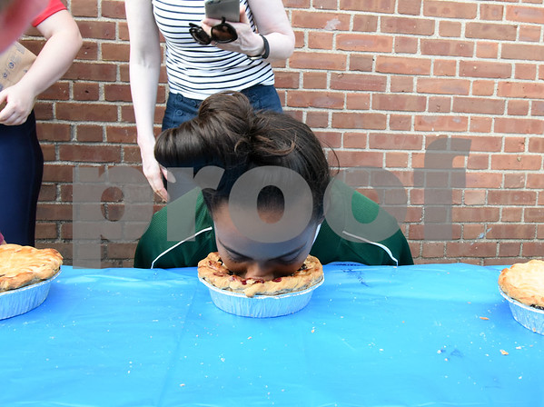 071817 Wesley Bunnell | Staff Jasmine Perez of the Bristol All Stars wins her pie eating competition during the FCBL all star fan fest. The fan fest was held prior to the all star game played at Muzzy Field on Tuesday evening.