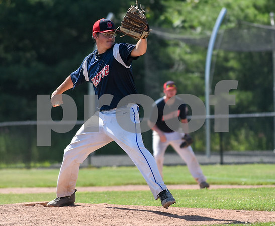 071917 Wesley Bunnell | Staff Southington American Legion Post 72 vs Avon Post 201 on Wednesday afternoon in Avon. The first game was forfeited by Avon after it was ruled they used an ineligible player forcing a second final deciding game. Pitcher Connor McDonough (18).
