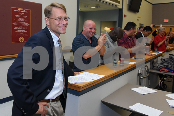 072017 Wesley Bunnell | Staff The Democratice Town Committee endorsed its slate of candidates for Novembers municipal elections on Thursday night. Democratic nominee for Mayor Merrill Gay is applauded by those in attendance.