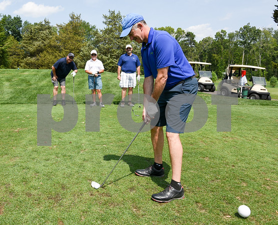 072117 Wesley Bunnell | Staff The Boys and Girls Club of New Britain held the 13th Annual Chuck Roby Golf Tournament, sponsored by Farmington Bank, on Friday at Stanley Golf Course. Dave Mensher on the tee, with Bob Grospitch, back left, Richard Koziara and Ron Albert completing the foursome.