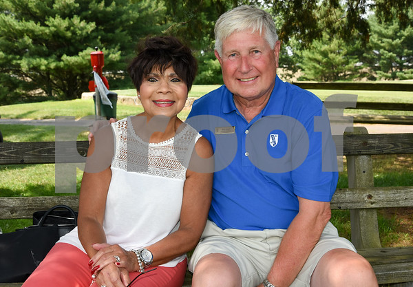 072117 Wesley Bunnell | Staff The Boys and Girls Club of New Britain held the 13th Annual Chuck Roby Golf Tournament, sponsored by Farmington Bank, on Friday at Stanley Golf Course. Lynn Roby Knapp poses with Bob Heath.